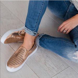 MIA✨ rosegold metallic slip on sneakers